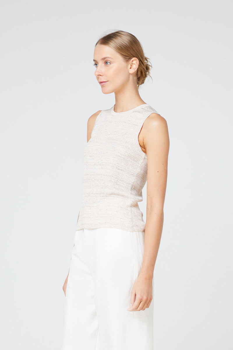 Elka Franco Knit Tank in Oatmeal