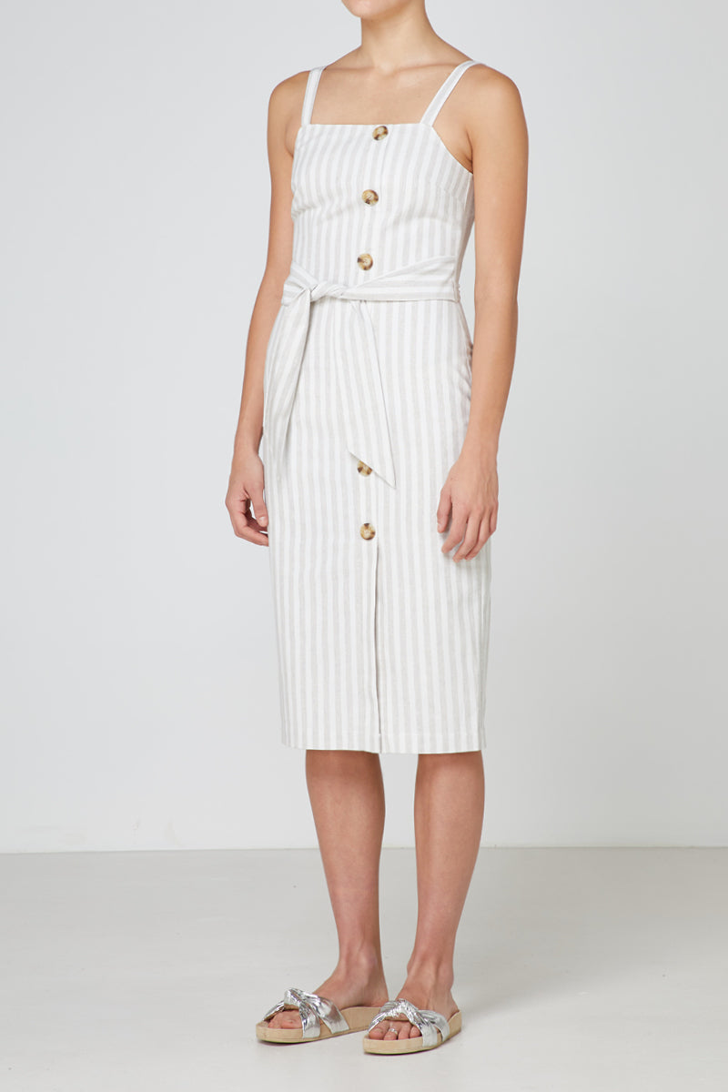 Elka Jasmine Dress in Linen Stripe