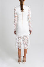 Rebecca Vallance Le Saint Ruched Dress in Ivory