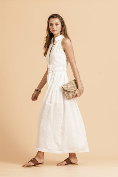 aa6860c29dd Paddo to Palmy Les Jolie Maxi Dress in White Linen – Cloakroom Melbourne