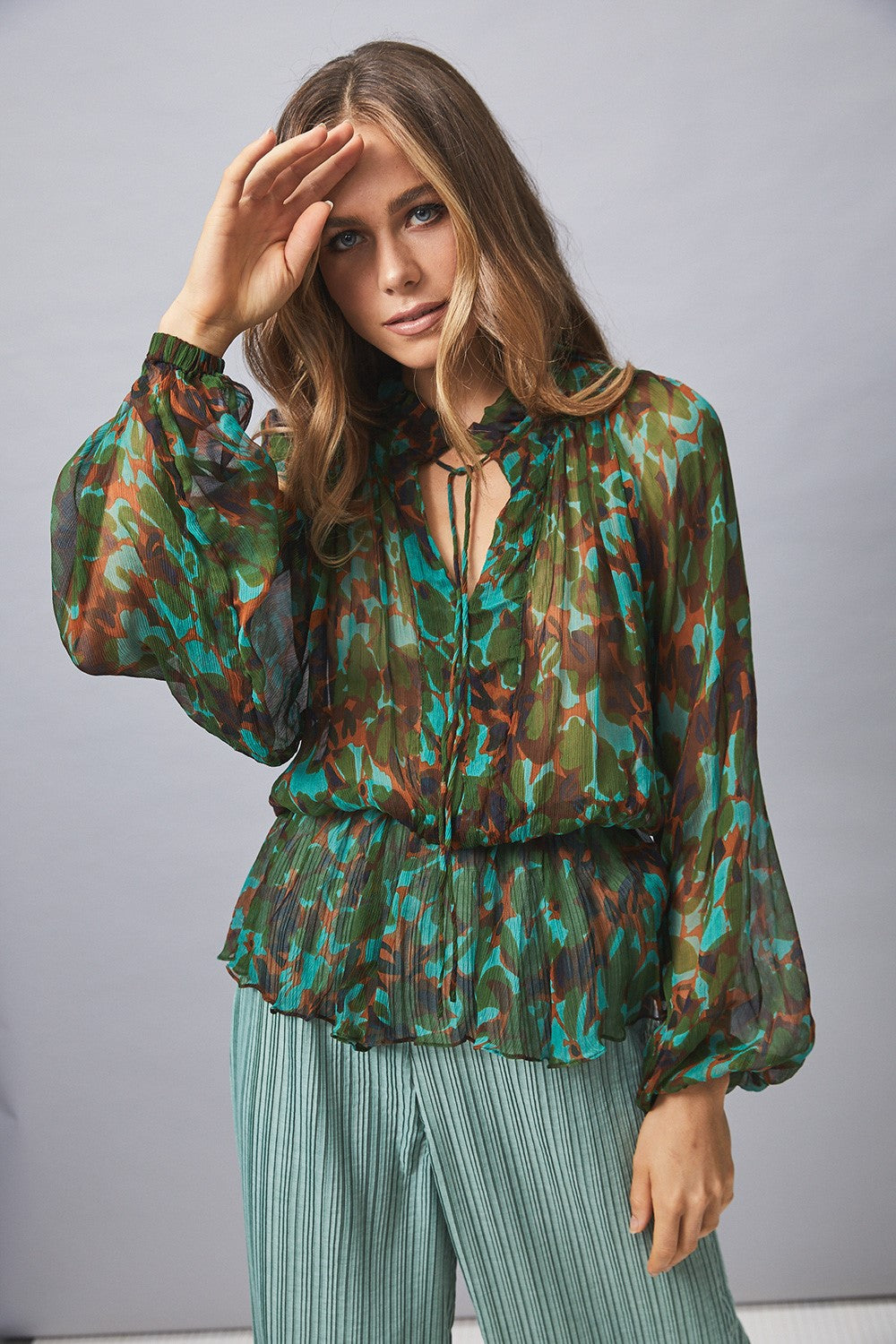 MLM Camile Silk Blouse in Amazon Floral