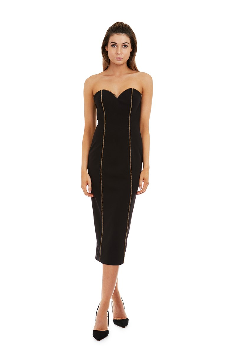 Georgy Melaina Dress in Black & Gold