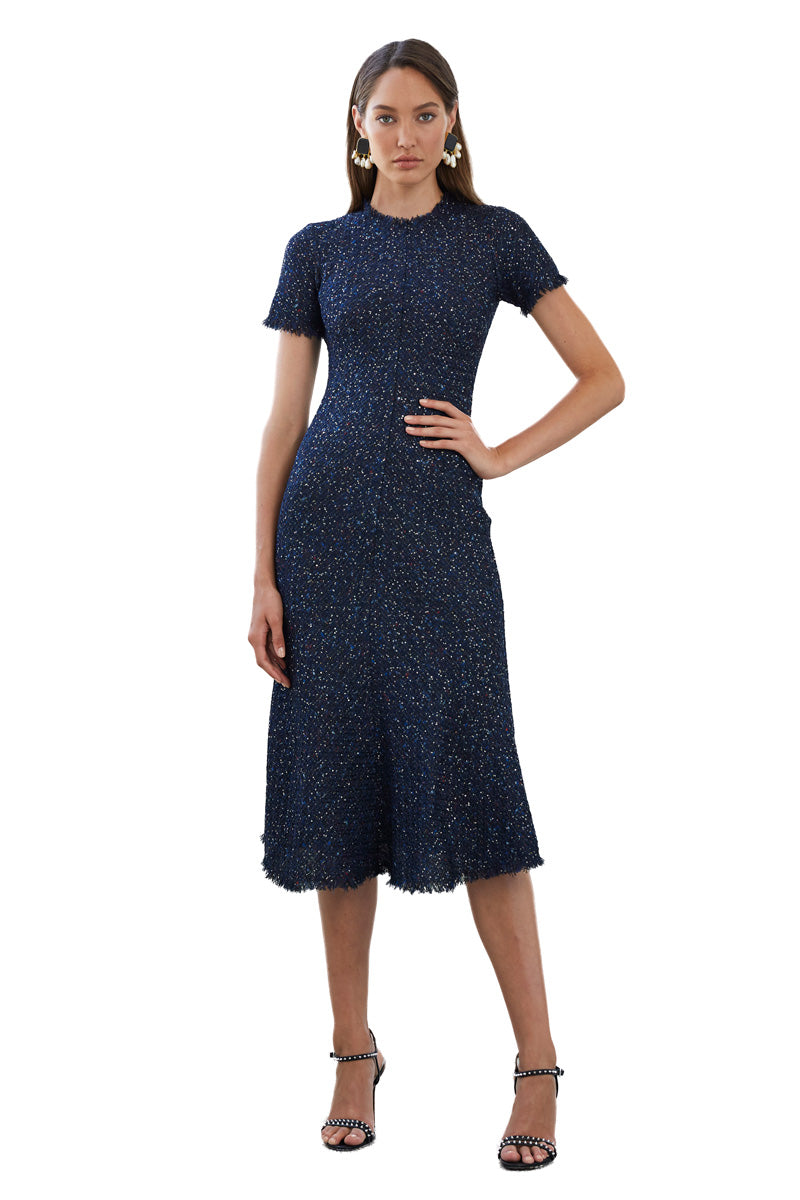 By Johnny Midnight Tweed Bias Midi Dress in Navy