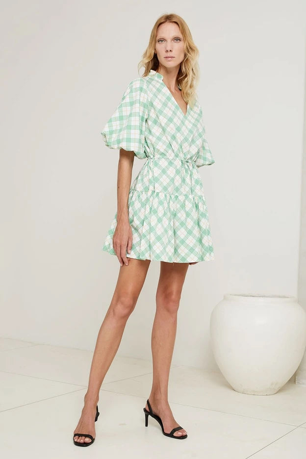 S/W/F Mini Colllar Dress Dress in Green Check