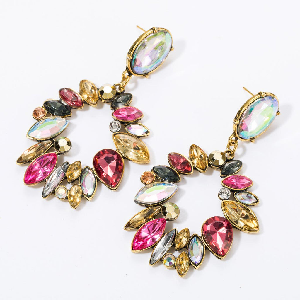 Kate Wilson Sierra Drop Earring in Brushed Brass and Multi Colour Crystals