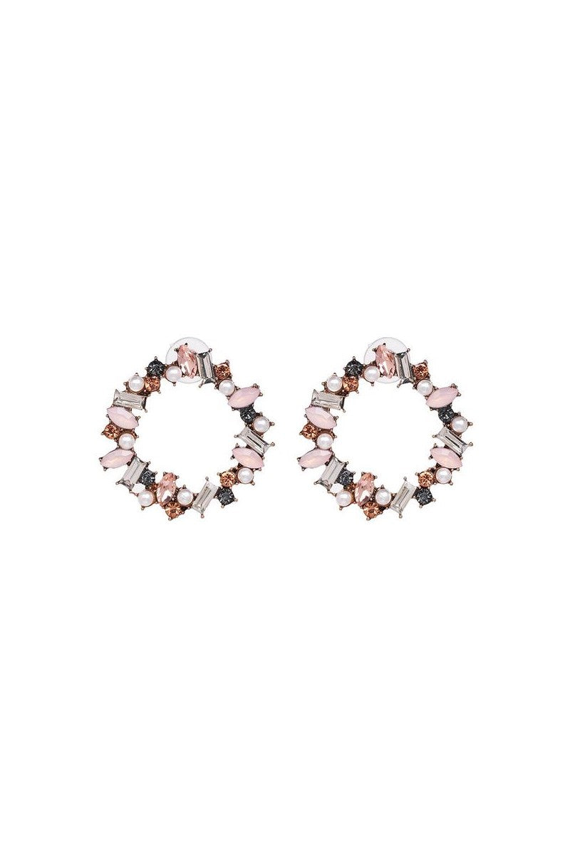 Kate Wilson Wreath Pink Crystal/Pear Earring