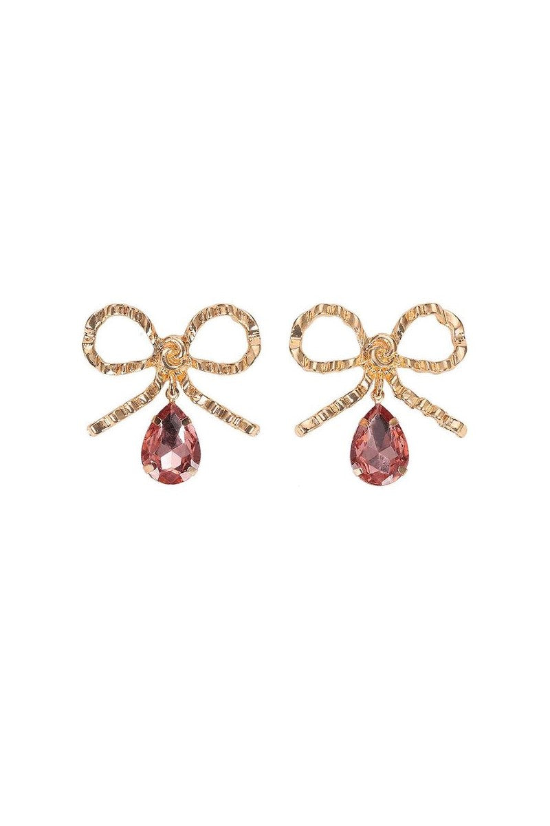 Kate Wilson Bow Earring in Pink/Gold