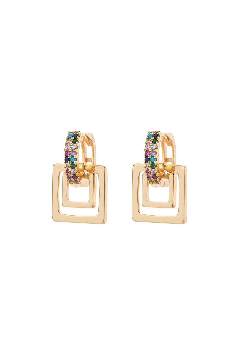 Kate Wilson Ellen Square Drop Earring in Gold with Multi Colour Crystals