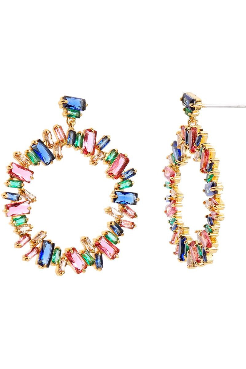 Kate Wilson Lola Circle Drop Earring in Multi Colour Crystals