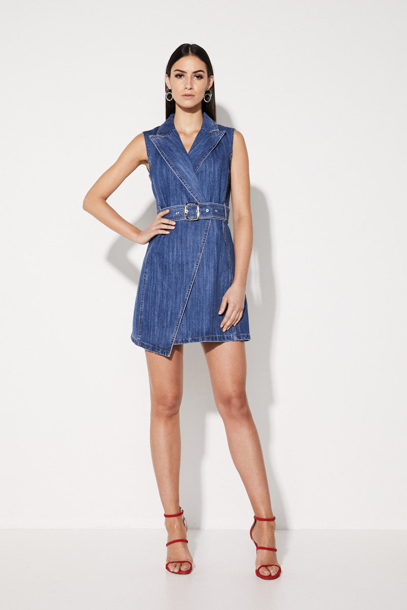 Mossman No Looking Back Wrap Dress in Denim