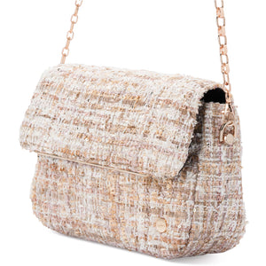 Olga Berg Queenie Quilted Tweed Shoulder Bag
