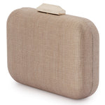 Olga Berg Hailey Subtle Metallic Woven Pod in Taupe