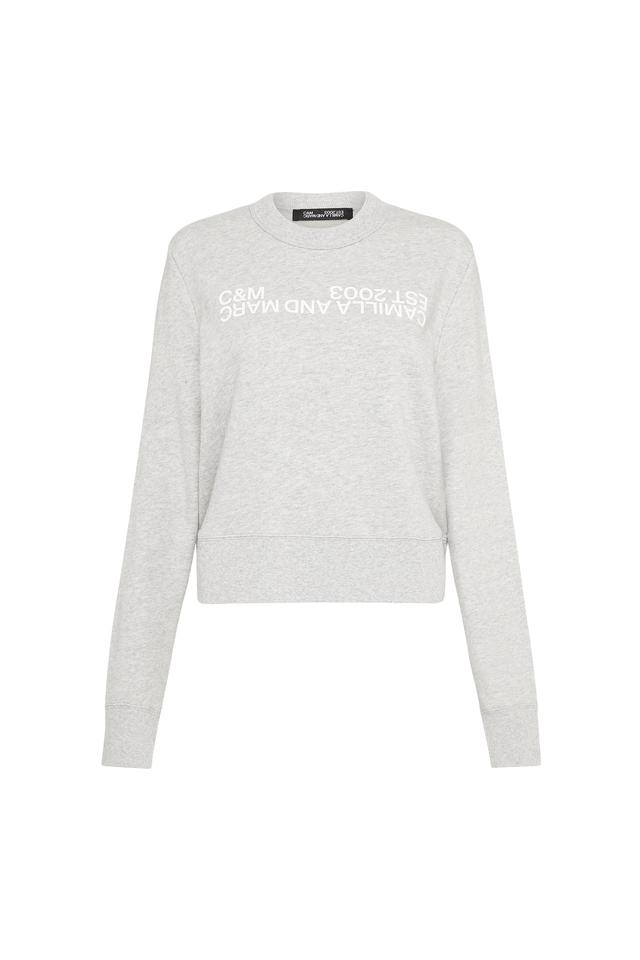Camilla & Marc James Logo Crew Jumper in Grey Marle