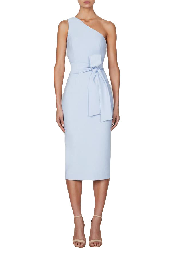 Shona Joy Lucy One Shoulder Midi Dress in Powder Blue