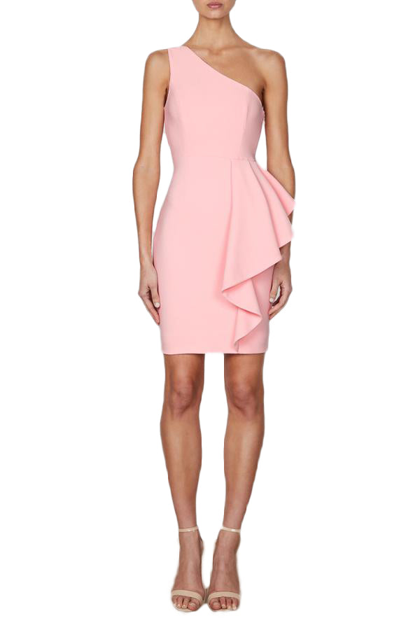 Shona Joy Ava One Shoulder Peplum Mini Dress in Blush