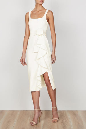 Shona Joy Georgie Square Neck Midi Dress in Ivory