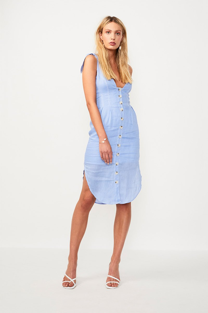 Suboo Azure Tie Shoulder Midi Dress in Blue