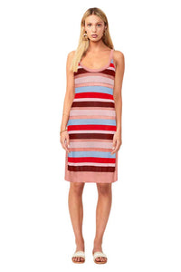 Suboo Midsummer Knitted Stripe Midi Dress in Pink/Red