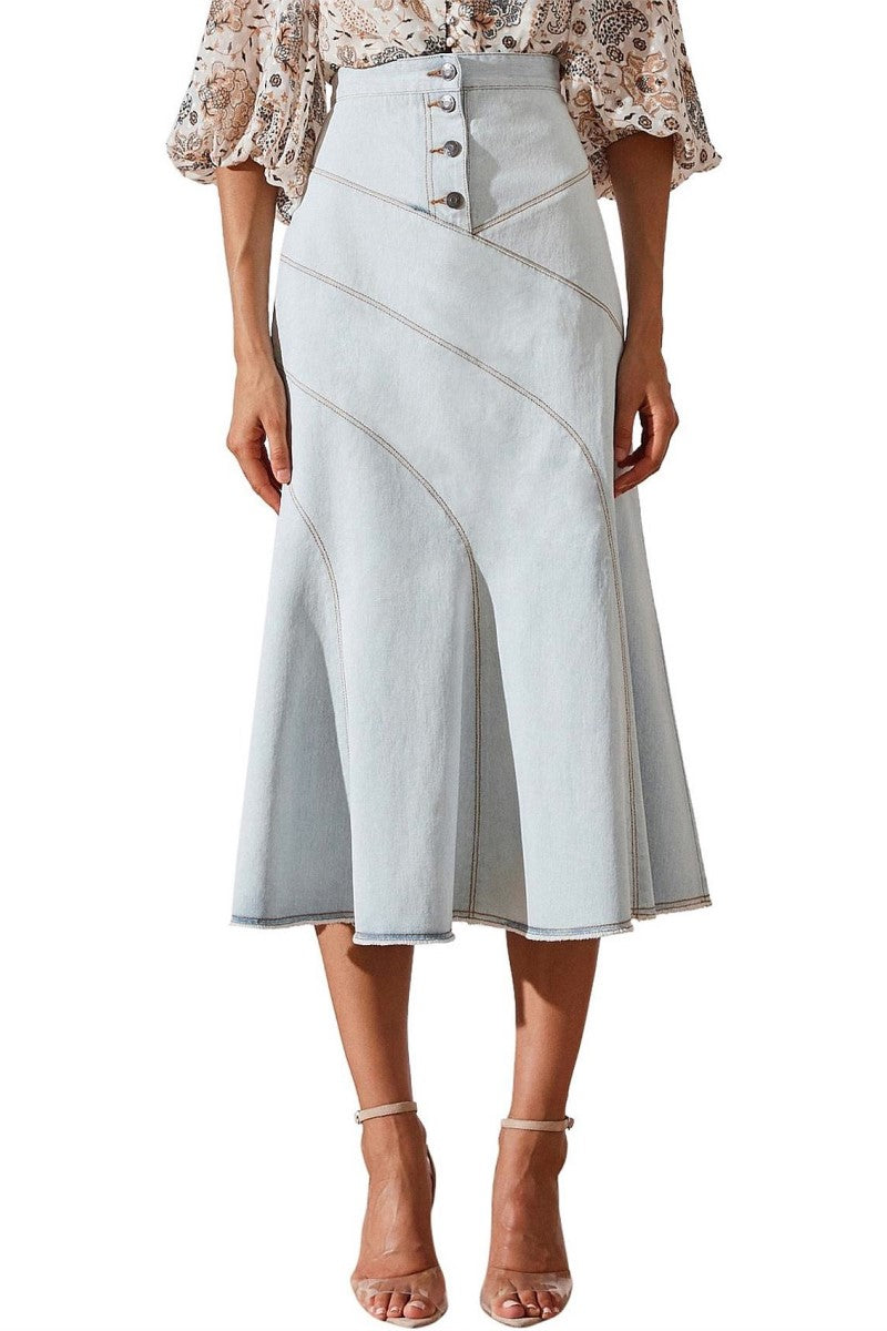 Shona Joy Noah Contour Panel Midi Skirt in Light Blue