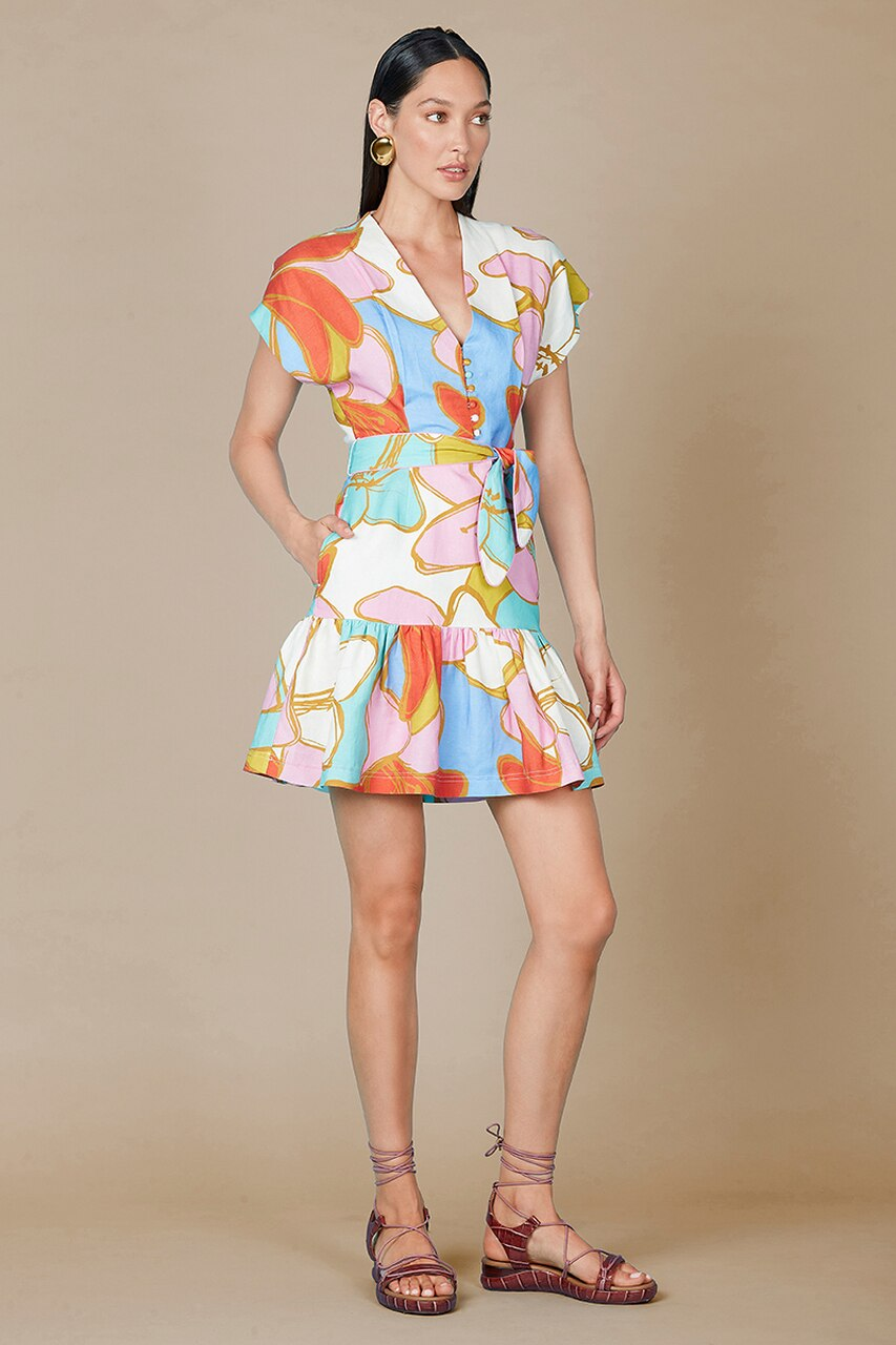 Rebecca Vallance Tirano Mini Dress in Floral Print