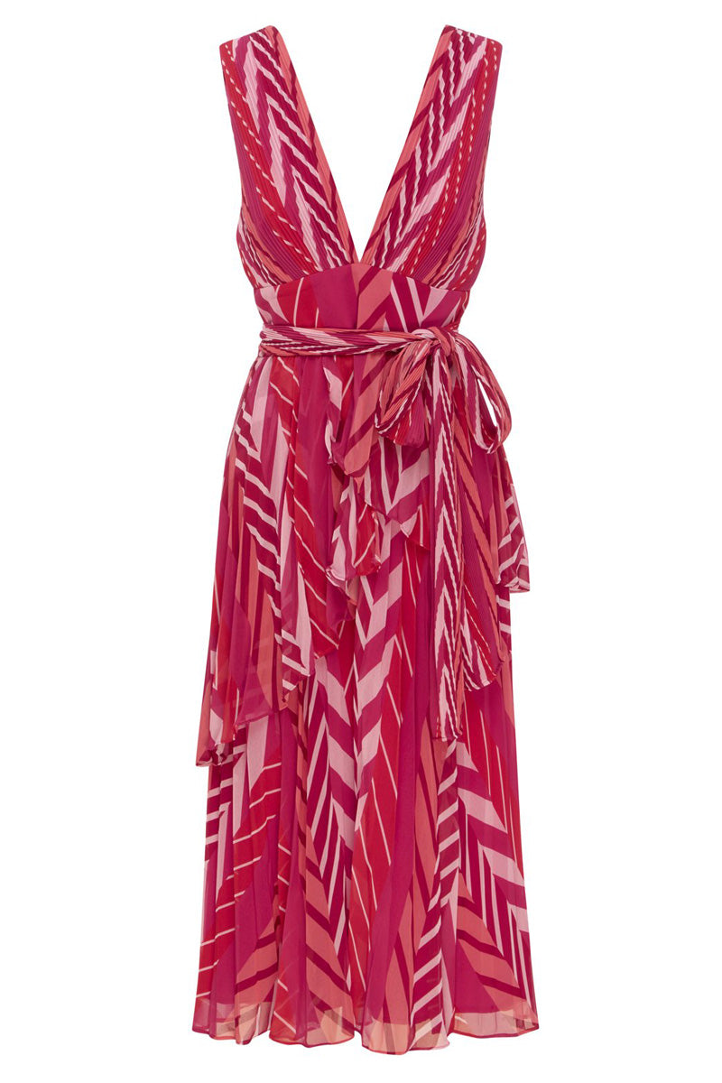 Talulah Sugar & Spice Midi Dress in Tango Stripe