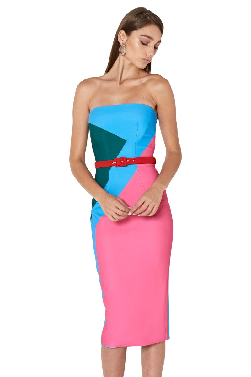 By Johnny Blocks Strapless Dress in Pink Blue Green Red