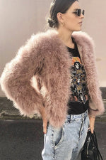 Zaliah Turkey Feather Jacket in Blush