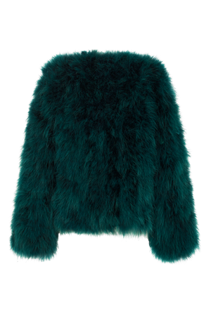 Zaliah Turkey Feather Jacket in Emerald Green