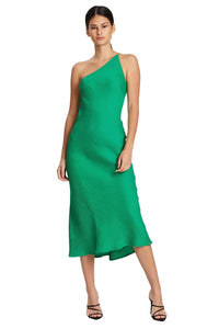 By Johnny Asymmetric Crimp Bias Midi Dress in Green
