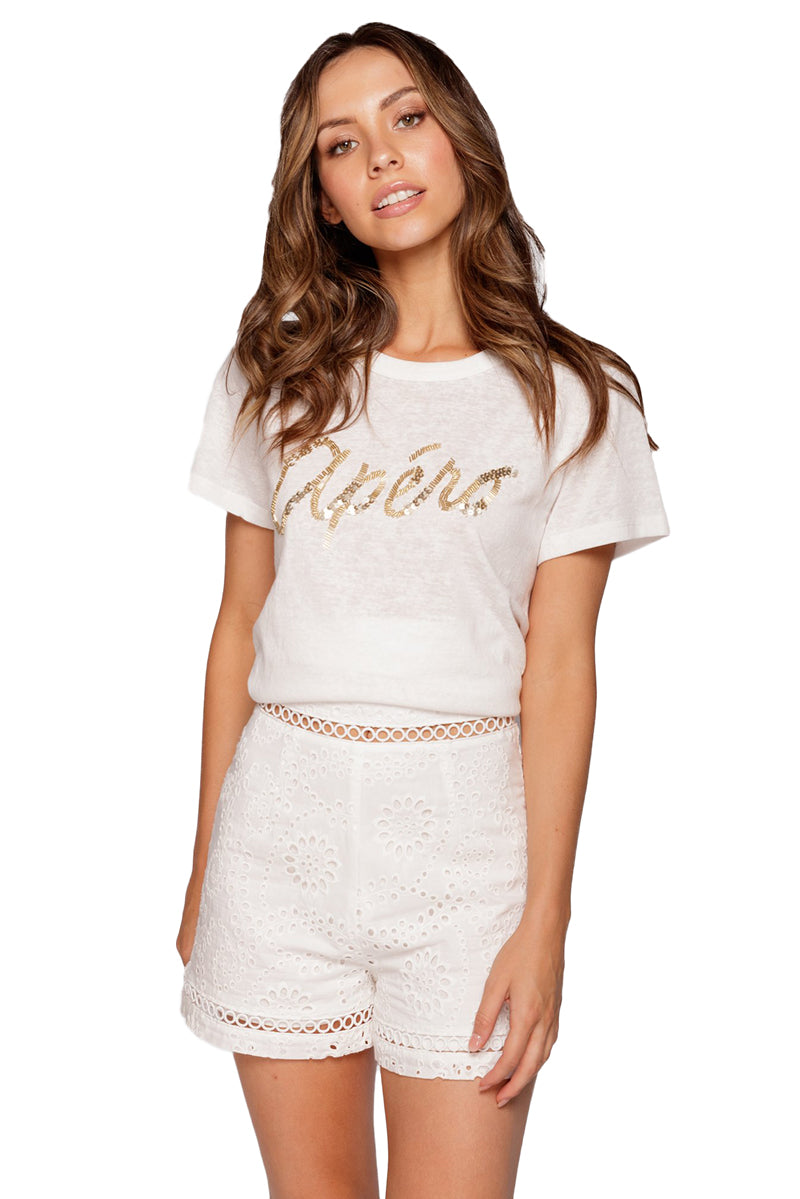 Apero Mixed Beaded Femme Tee in White/Gold Bead