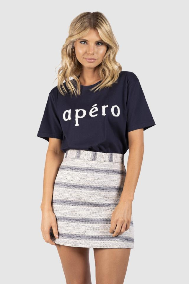 Apero Beaded Tee in Navy/White Bead