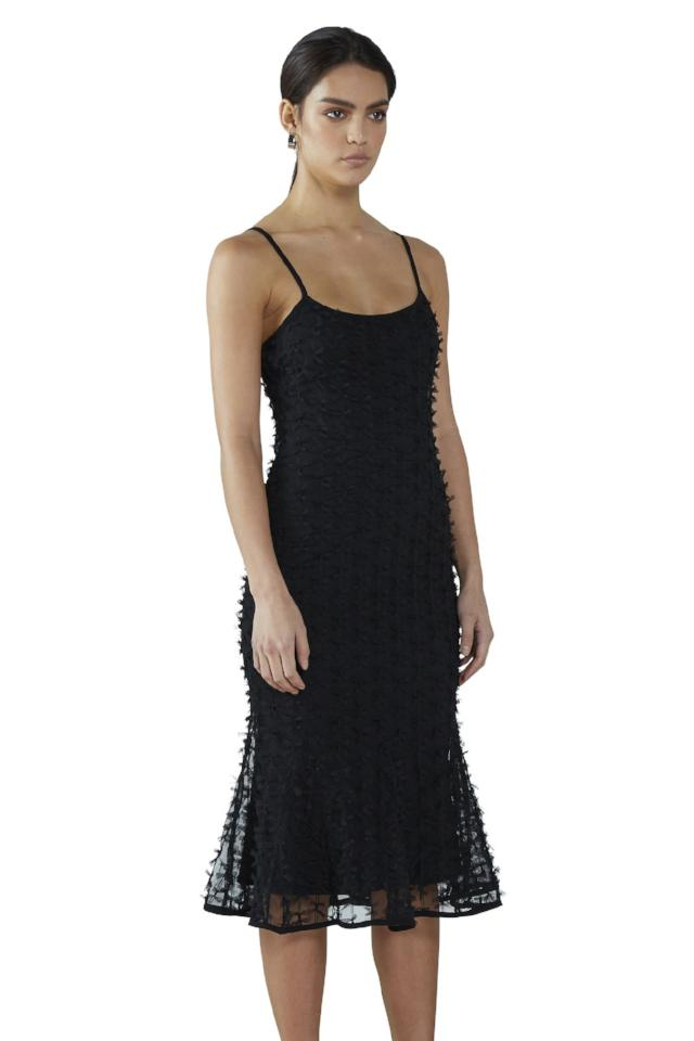 By Johnny Tissue Slip Midi Dress in Black