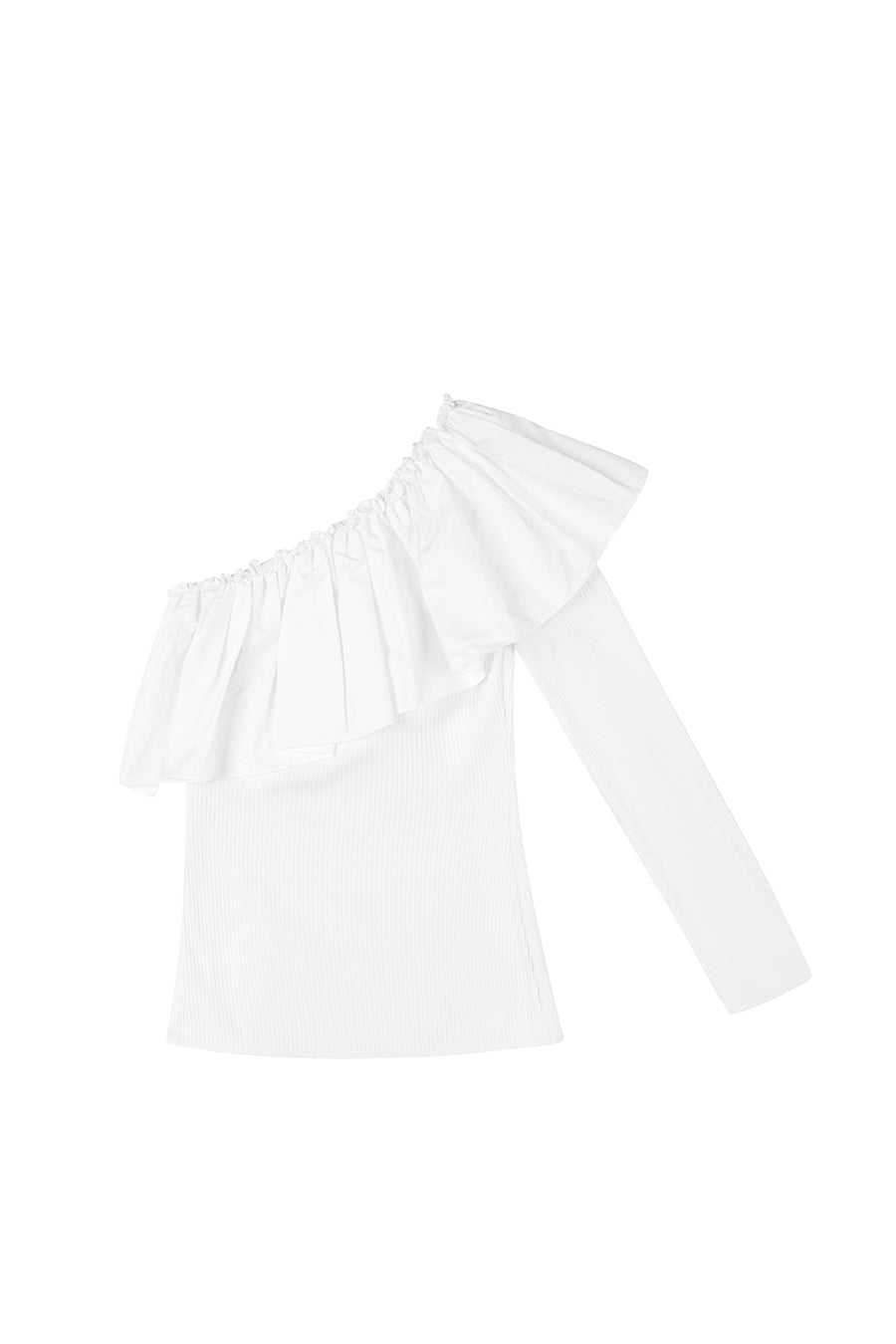By Johnny Cotton Wave Shoulder Top in White