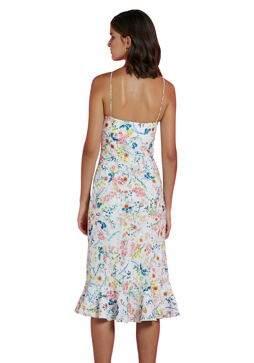ae0df722fc0 By Johnny Ditsy Frill Bias Midi Dress in White Floral – Cloakroom Melbourne