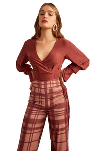 C/MEO Unrequited Silk Top in Mahogany