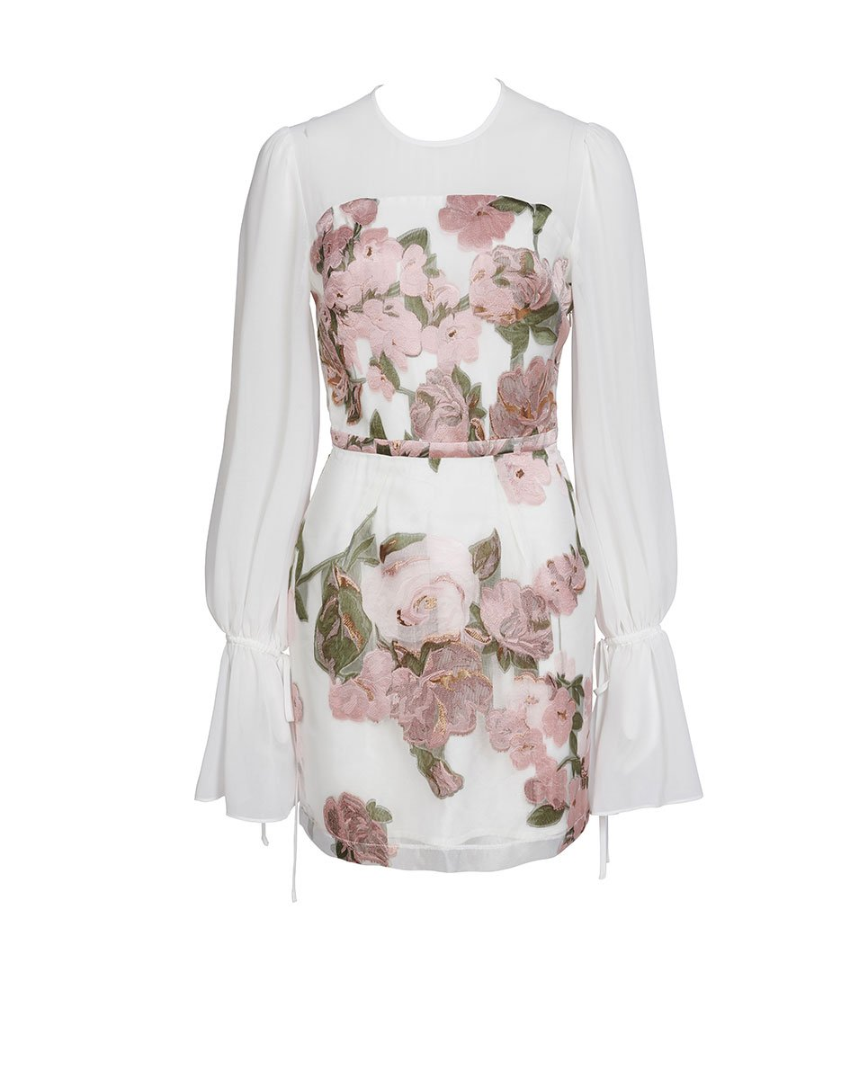 We Are Kindred Colette Bishop Sleeve Mini in Organza Rose
