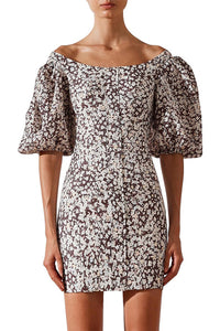 Shona Joy Dahlia OTS Fitted Mini Dress in Chocolate