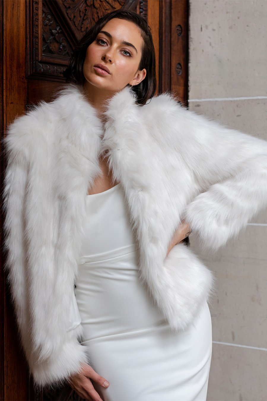 Unreal Fur Delish Jacket In Ivory