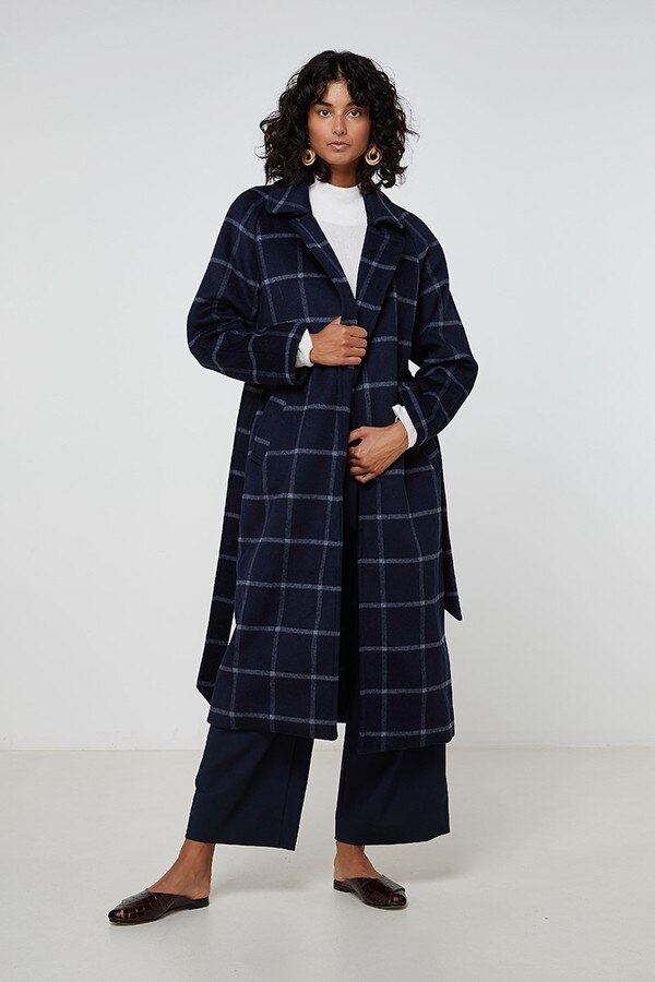 Elka Riley Coat in Navy Check