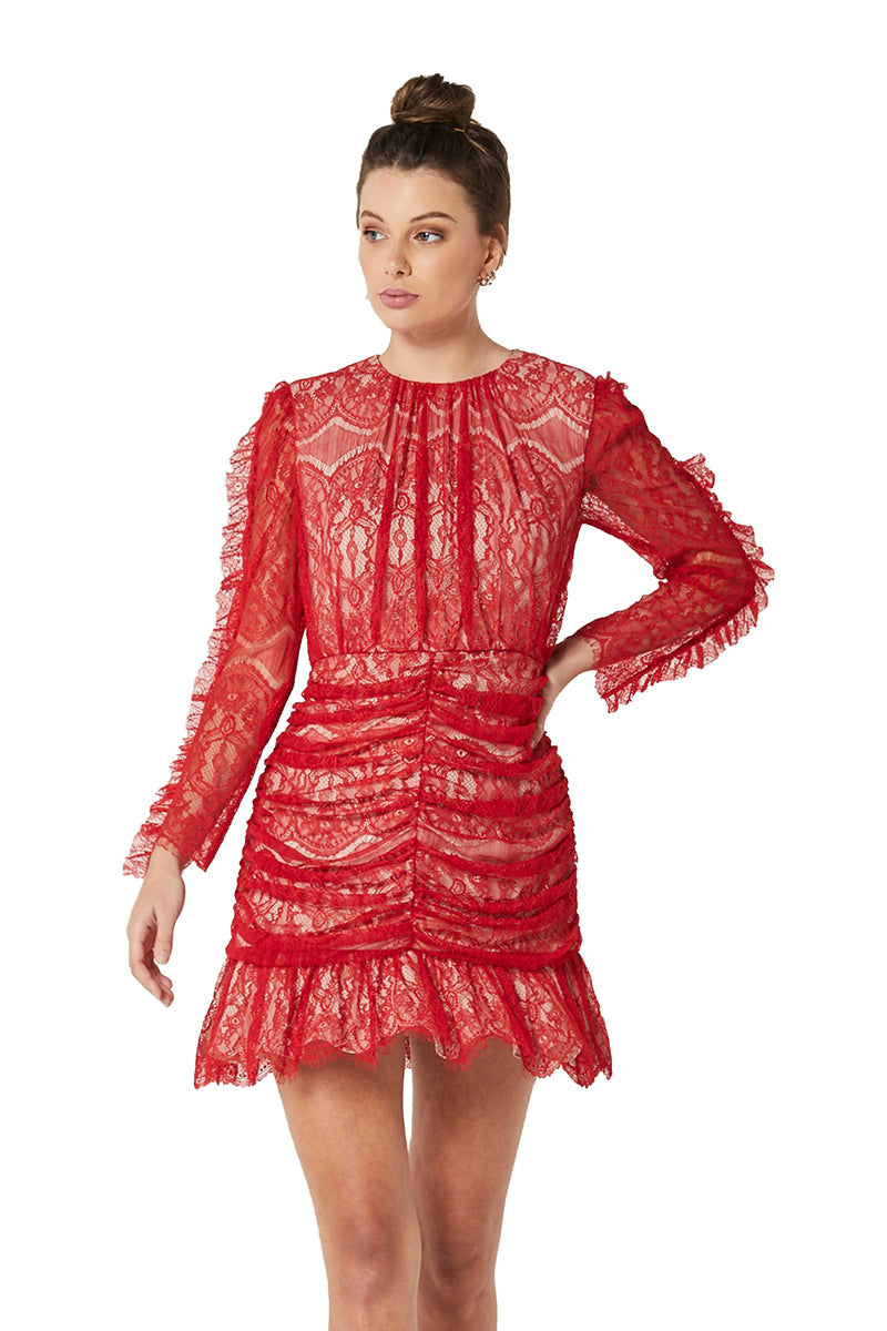 Elliatt Rose Dress in Red