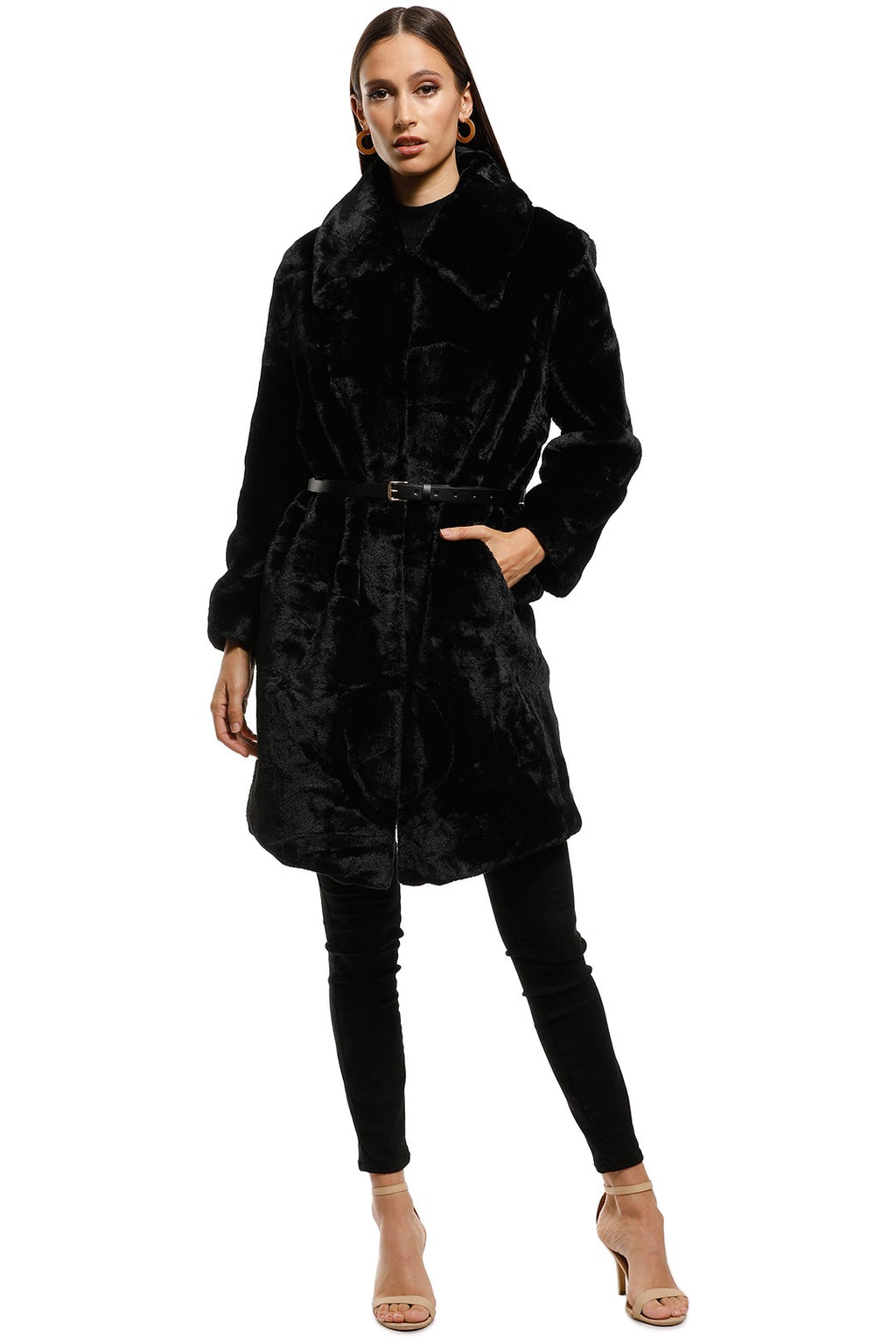 Elliatt Bespoke Coat in Black Faux Fur