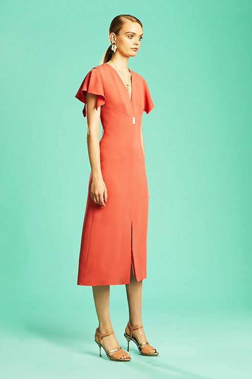 5066084d69c6 Ginger   Smart Drift Fitted Dress in Coral – Cloakroom Melbourne