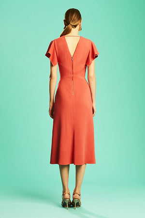 Ginger & Smart Drift Fitted Dress in Coral