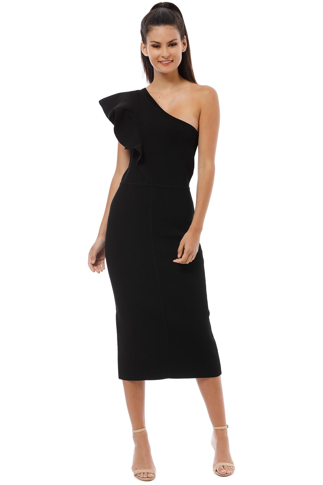 Ginger & Smart Anchor One Shoulder Dress in Black