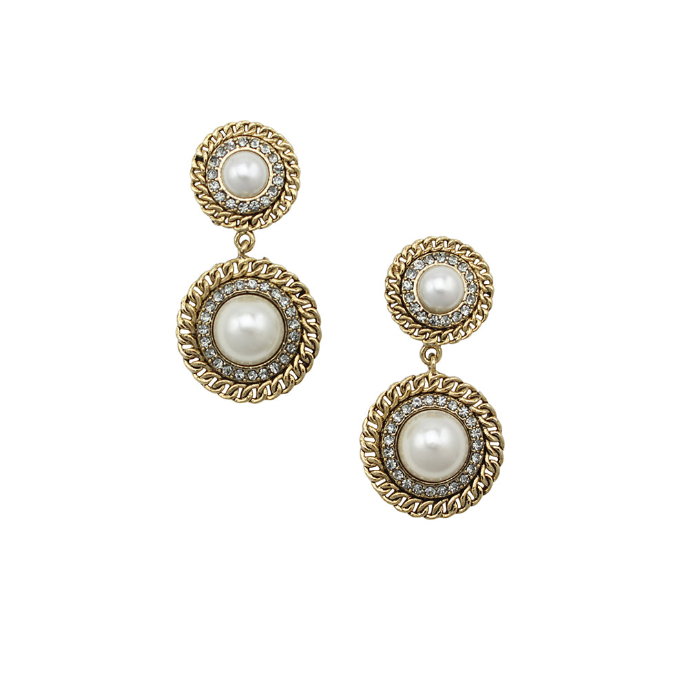Jolie & Deen Pearl Chain Gold Earrings