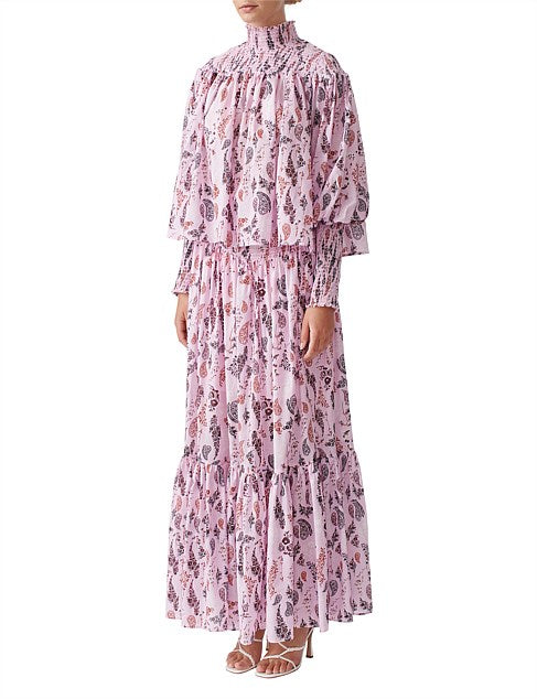 Joslin Silk Cotton Maxi Skirt in Peony Pink Floral