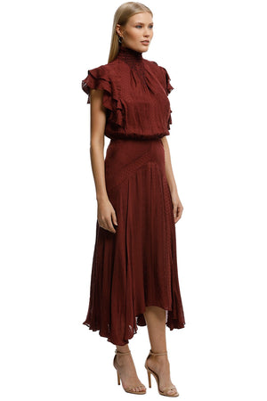 Lover Juliette Midi Dress in Burgundy