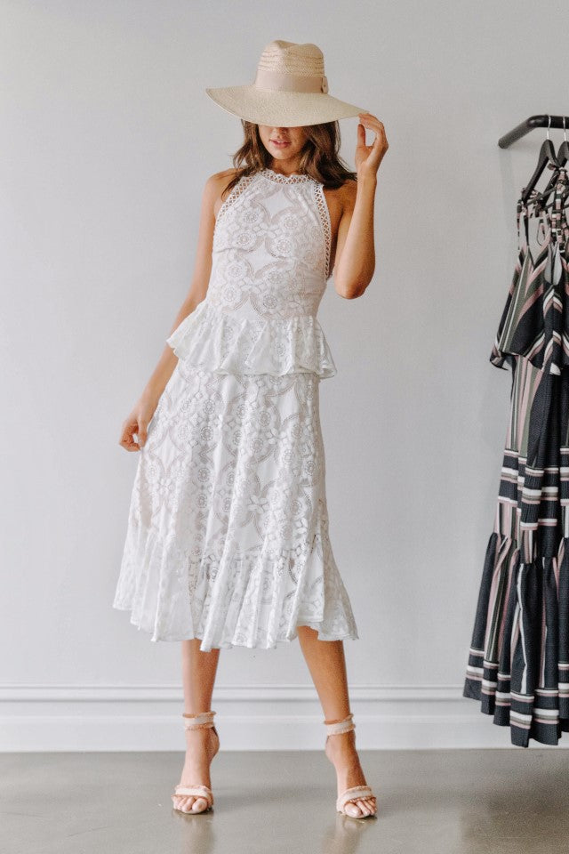 Lover Violet Lace Midi Dress in White