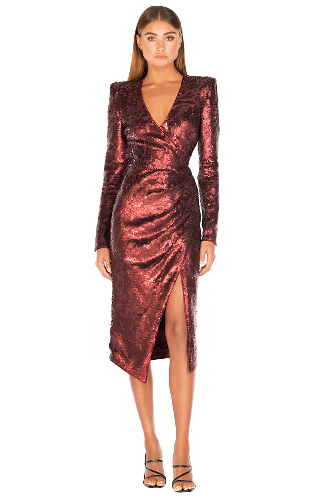 Misha Neaky Sequin Dress in Wine