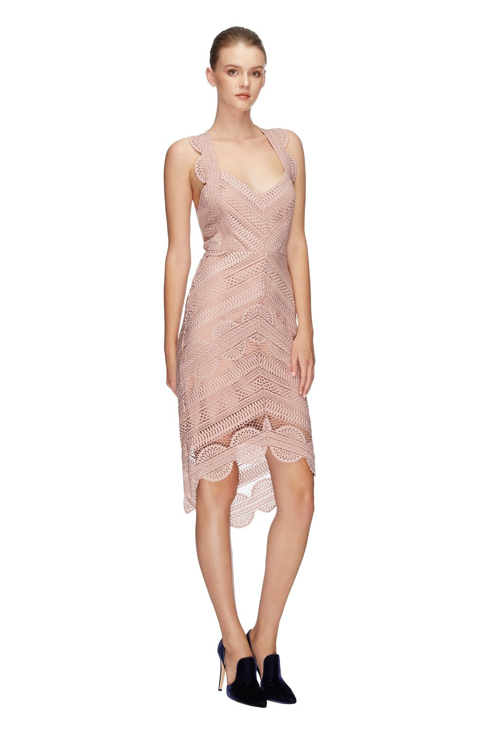 d4ddf2f9b60 Lover Ode Lace Midi Dress in Rose